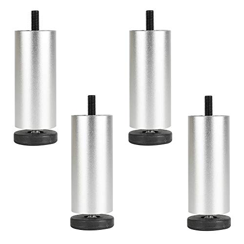ACXZ Silver Aluminum M8 Furniture Legs 4/5/6/8/10inch, Adjustable Sofa Feet Set of 4 Replacement Legs for Cabinet, Benches, Coffee Tables, Furniture Accessories Support Legs