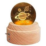 Yibaision オルゴール クリスタル ボール 間接照明 LEDプロジェクターライト付き&高級感のある木製土台 ベッドサイドランプ ロマンチックな雰囲気 クリスマス/ 誕生日/結婚記念/卒業/出産祝いなどのお祝い お子さん・彼女・文愛好家にプレゼント USB充電式 癒しグッズ ( 惑星-曲目:君をのせて)