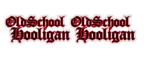 Oldschool Hooligan Aufkleber 2x15cm schwarz-rot Biker Mofa Moped MC 1% Auto Hot Rod Muscle Car V8 Sticker / Plus Schlüsselringanhänger aus Kokosnuss-Schale / Motorrad Bike Helm Laptop Racing Tuning