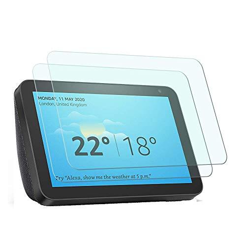 YISPIRIN - Pellicola protettiva per display compatibile con Echo Show 8 [2 pezzi] [antigraffio, durezza 9H, facile installazione] pellicola salvaschermo in vetro temperato per Echo Show 8