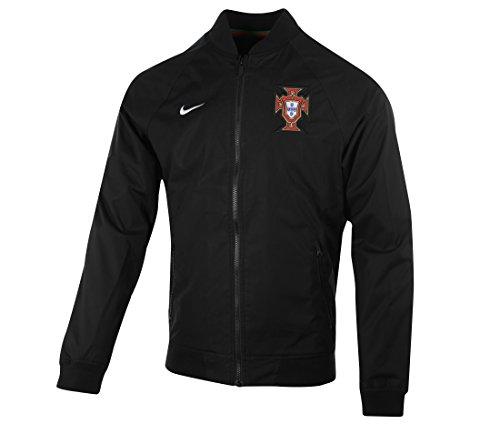 Nike FPF AUTH Varsity Jacket Sudadera De La Línea Federación Portuguesa De Fútbol, Hombre, Blanco (Black/White), M