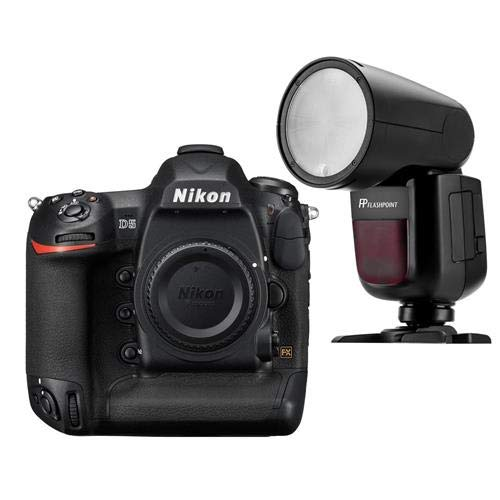 Nikon D5 DSLR Camera (Body Only, Dual XQD Slots) - with Flashpoint Zoom Li-on X R2 TTL On-Camera Round Flash Speedlight (V1)