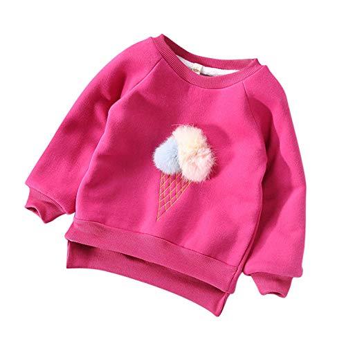 K-youth Sudadera para Niñas - Sweat Shirt Sudadera Niños Ropa Bebe Niña Otoño Invierno Dibujos Animados más Terciopelo Grueso Caliente Blusas Bebe Niño Tops(Rosa Caliente, 18-24 Meses)