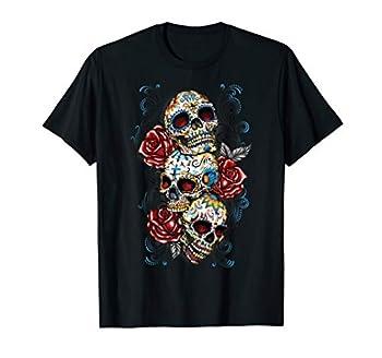 Sugar Skull T Shirt Roses Three Skull Tshirt Day of the Dead T-Shirt