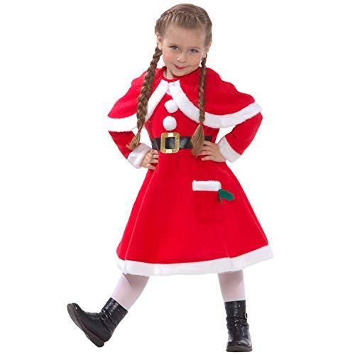Morph Disfraz de Mam Noel. Conjunto con Vestido navideo de pequea ayudante de Pap Noel para nios, Talla L (9-11 aos)
