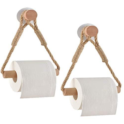 Hopeas 2 Stück Toilettenpapierhalter Ohne Bohren Klopapierhalter Ohne Bohren Holz Toilettenpapierhalter Seil Maritim Antikes Industrielles Toilettenbadezimmerzubehör