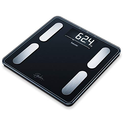 Beurer BF 400 black Diagnosewaage Signature Line, präzise Körperanalyse für bis zu 10 Personen, mit extra großem Invers-LCD-Display, Tragkraft bis 200 kg