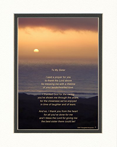 Sister Gift with Thank You Prayer for Sister Poem. Ocean Sunset Photo, 8x10 Double Matted. Birthday, Christmas Gifts for Sister.