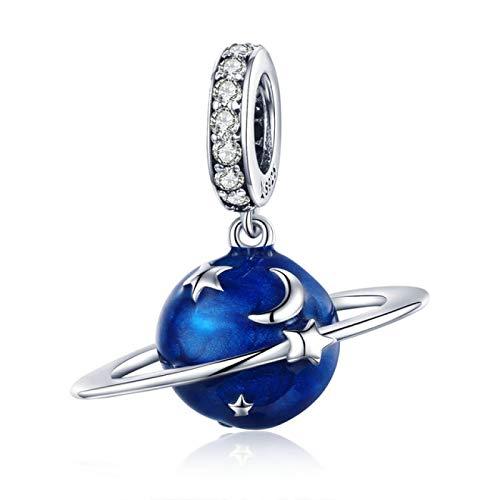 DFHTR 925 Cuentas Colgantes De Plata Esterlina Secret Planet Moon Star Colgante Encantos De Esmalte Azul Fit Charm Pulseras Collar Joyería De Plata