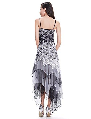 Ever-Pretty Vestido de Fiesta Noche Asimétrico en Encaje Volantes Escote Mujer Blanco y Negro 46