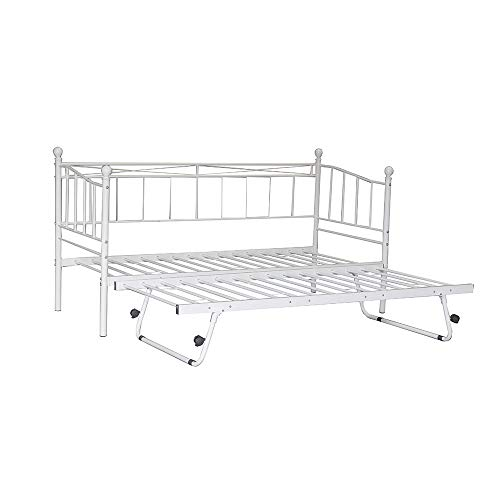 2 Styles Metal Bed Frame Day Bed 3ft Single Sofa Guest Bed Black/White New (Style1 Daybed+Trundle, White)