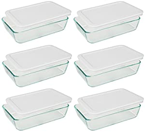 Pyrex 3-cup Rectangle Glass Food Storage Containers With White Plastic Lids.Use For Lunch Box  Storage Food  And Baking Dish (pack of 6 Glass Containers) )
