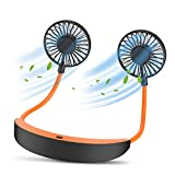 Neck Fan, AUGYMER Hanging Personal Necklace Fan Portable Rechargeable Mini Type-C Lazy Neckband Fan 12h 5200mah Battery Operated for Camping Hiking Garden Weeding Cooling
