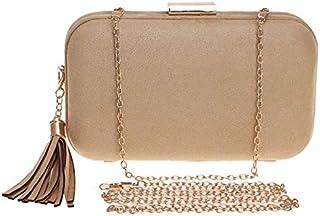 SODIAL Tassel Evening Bag,Bridal Wedding Purse,Banquet Bag with Shoulder Chain Included(Khaki)