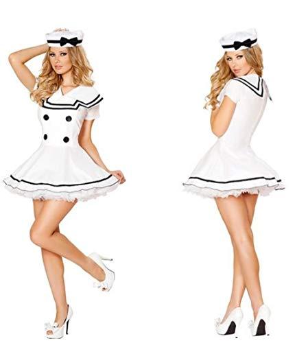 PAPX Korsagen & Bustiers Für Damen Weißes Seemannskostüm Frauen Vier Knöpfe Erotisches Seemannskostüm Für WeiblicheSeemannsrolle Aying Kleidung Attraktiv Ca408-White_M