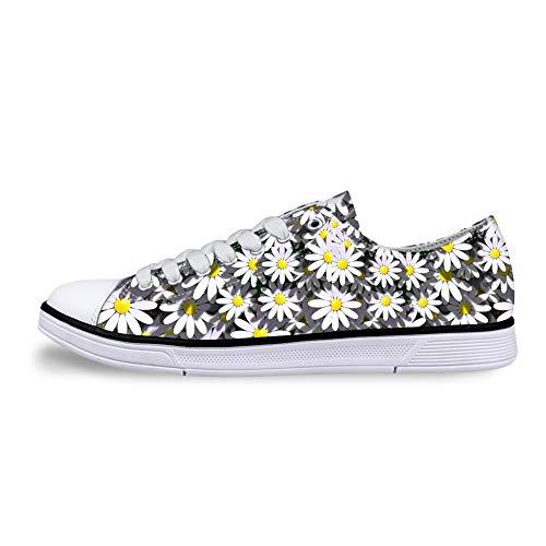 AXGM - Zapatillas Deportivas para Hombre con diseño de Margaritas Blancas y Flores Salvajes, Color, Talla 45 EU