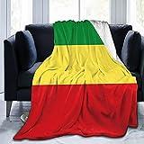 Ethiopian Flag Flannel Fleece Throw Blankets for Bed Sofa Living Room Soft Blanket Warm Cozy Fluffy Throw Plush Blanket