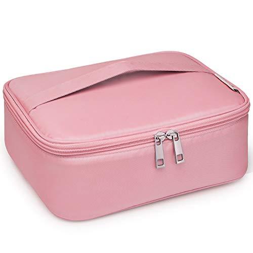 Neceser de maquillaje de viaje, bolsa de aseo grande, organizador para mujeres y niñas, Pink (Rosa)