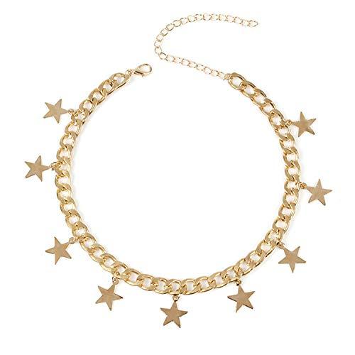 PPX Collar de Gargantilla de Mujer Collar de Estrella afortunada Cadena de Disco Colgante de Cadena de Plata