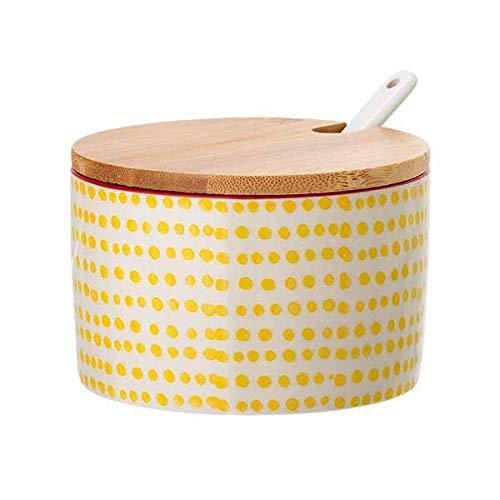 Bloomingville Salztopf mit Löffel und Deckel Susie, gelb, Keramik