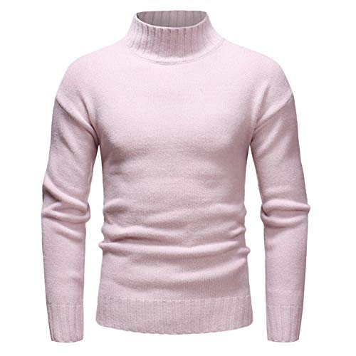 QJSZ Unisex Knit Jumper Sweater Long Sleeve High Round Neck Casual Slim Fit Pullover Top Spring and Autumn New Comfortable All-Match Casual Winter Bottoming Shirt XL