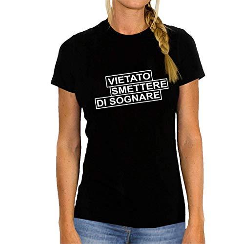 bemode T-Shirt Donna Manica Corta in Cotone Vietato Smettere di Sognare