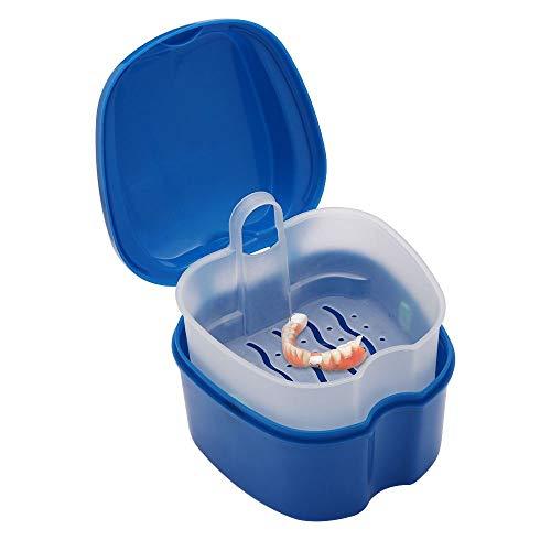 Estuche de dentaduras postizas con colador de dentaduras, taza de limpieza de baño, caja de almacenamiento de dientes falsos con cesta de red para viajes, limpieza de retenedores