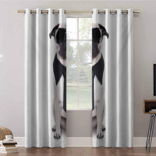 Aishare Store Cortinas, 52 x 84 paneles de cortinas para ventana, diseño fresco de perro y grandes gafas de sol negras de fantasía divertidas, aislamiento para oscurecer la habitación (2 paneles)