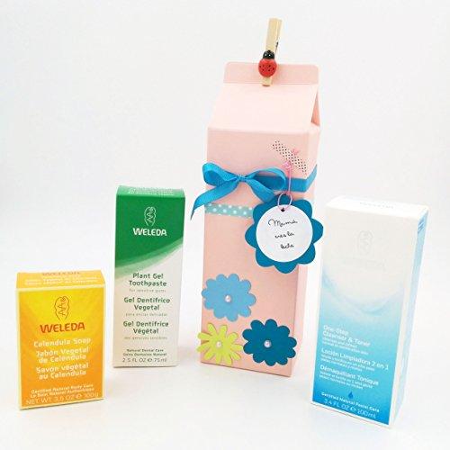 Set cadeau avec trois produits Weleda BIO 100% naturelle   contient : un gel dentifrice végétal, une lotion nettoyante 2 en 1 et un savon végétal de Cuts   Gift Idea For Mums