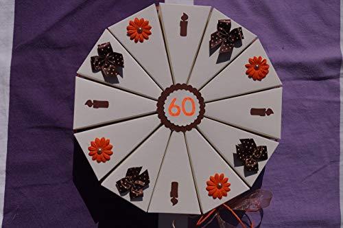 Geldgeschenk, E1 Tolle Torte Geldgeschenkverpackung aus Papier zum 60. Geburtstag, Geld verschenken, Geschenkverpackung