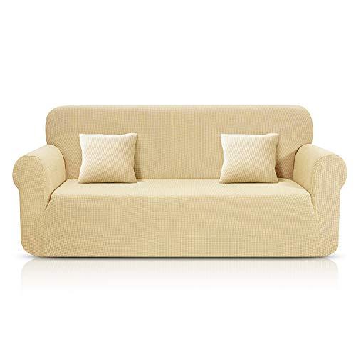KinCam Sofabezug, Jacquard, elastisch, Sofabezug, Verschiedene Größen und Farben (Beige, 1 Poster (78-116cm) 180-230 beige