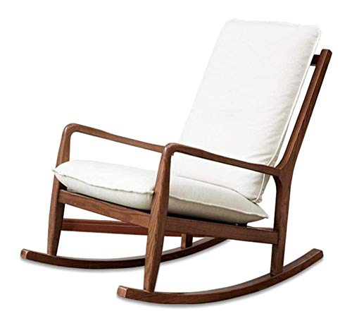 HLZY Home Furniture Meditation Chair Comfortable Rocking Chair Solid Wood Single Sofa Rocking Chair, Washable Cushion Recliner Bedroom Garden Relax Furniture (Color : Walnut)