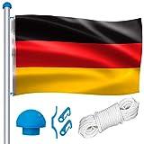 Aufun 6,5 m Aluminium Fahnenmast inkl. Seilzug, Bodenhülse, Zugseil, Verschlusshaken, 150 x 80 cm Deutschlandfahne, 5 Verschiedene Höhenverstellbar