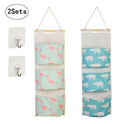 2pcs bolso colgante organizador KAKOO oso polar azul de organizador pared de avestruz verde de colgante algodón organizador de pared