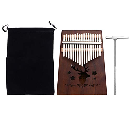 ULTNICE Kalimba Daumenklavier 17 Schlüssel Daumen mit Stimmhammer Klaviertasche Holz Tragbar Finger Piano für Geburtsgeschenk Anfänger (Rentier Muster)