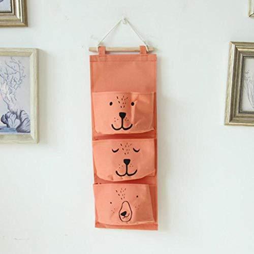 Hangende katoenen en linnen kinder opbergtas kast opbergtas speelgoed opbergtas make-up opbergtas-oranje