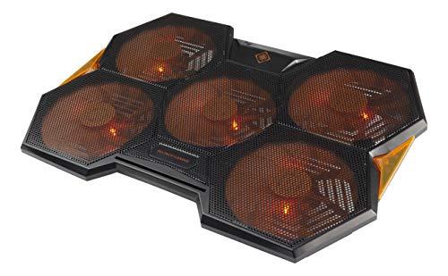 DELTACO GAMING Refroidisseur pour PC Portable (Max 17.3 Pouces) | Eclairage LED Orange | 5 Ventilateurs Diamètre 140mm | Vitesse Réglable 1000-1300 Tours Minute | Décibel 15-25dB | 2 Connecteurs USB-A