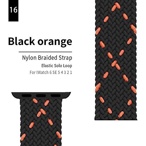 HBNNBV Banda 44mm 40 mm 38mm 42mm Nylon Brayed Loop Strap SmartWatch Pulsera del cinturón Elástico Compatible con Apple Watch 6 SE 5 en IWATCH Series 5 4 3 2 1 Cierre de reemplazo