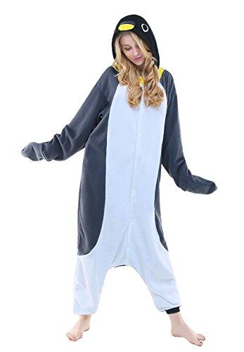 NEWCOSPLAY Halloween Fleece Penguin oneise Adult Pajamas (XL, Gray)