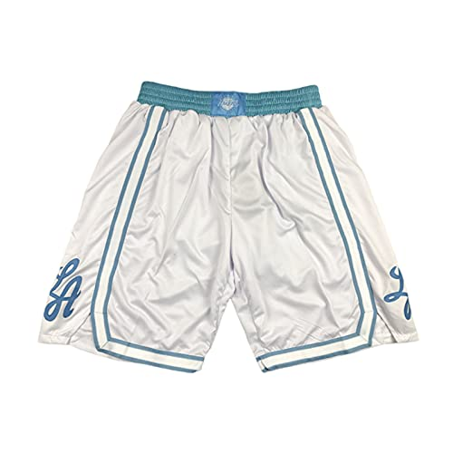 EJKDF Pantalones Cortos para Hombre, Lákérs Baloncesto Jersey Retro Pantalones Deportivos con Bolsillos de Malla Pantalones de chándal Transpirables para Adultos adolescen White-M