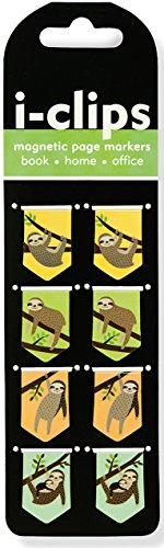 Price comparison product image Sloths i-Clips Magnetic Page Markers (Set of 8 Magnetic Bookmarks)