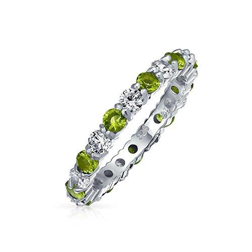 Bling Jewelry Il Cubic Zirconia Amore Verde Bianco Impilabi Alternata CZ Eternità Anello Peridoto Simulato Argento Sterling 925 Agosto