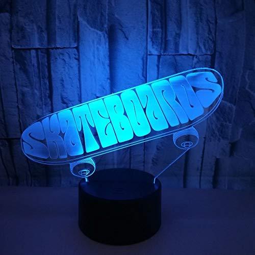 LG Snow Cooles LED-Skateboard mit bunten Farbverläufen, 3D-Stereo-Fernbedienung, USB-Lampe, Nachttisch, Schreibtisch, fantasievoll dekoriert, Weihnachten, Geburtstag, Geschenk, 20 x 13 cm