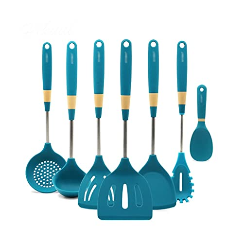 YFQHDD 7 Pcs Kitchenware Silicone Heat Resistant Kitchen Cooking Utensils Non-Stick Stainless Steel Handle Cooking Tools Gadget Sets
