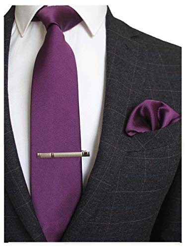 JEMYGINS Purple Formal Necktie and Pocket Square, Hankerchief and Tie Bar Clip Sets for Men