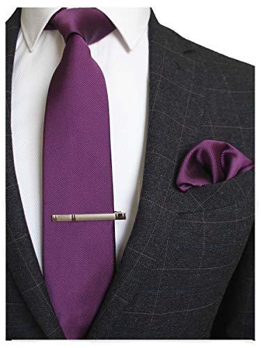 JEMYGINS Krawatte Seide Lila Krawatten und Einstecktuch mit krawattenklammer Set für Herren Seidenkrawatten Hochzeit Schlips (7)