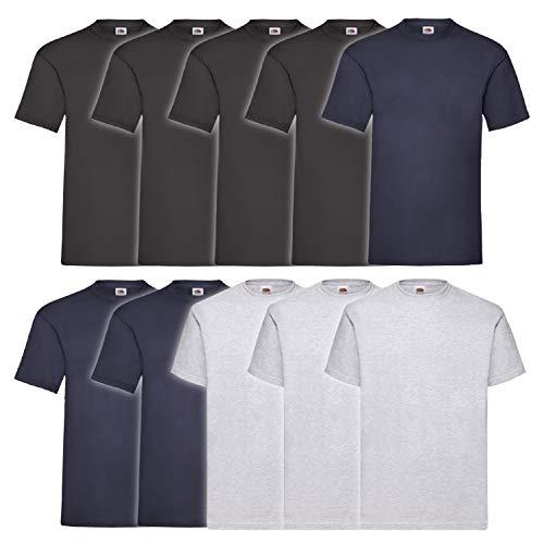 10 Fruit of the loom T Shirts Valueweight T Rundhals S M L XL XXL 3XL 4XL 5XL Übergröße Diverse Farbsets auswählbar (3XL, 4 Schwarz / 3 Navyblau / 3 Grau)