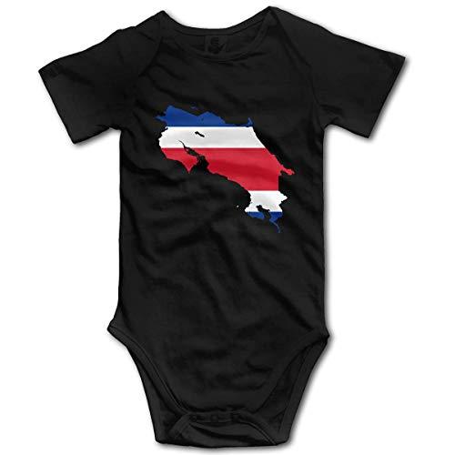 KNKN Mapa Bandera de Costa Rica Mono Mameluco para bebé recién Nacido Mono Divertido Ropa para bebé Negro