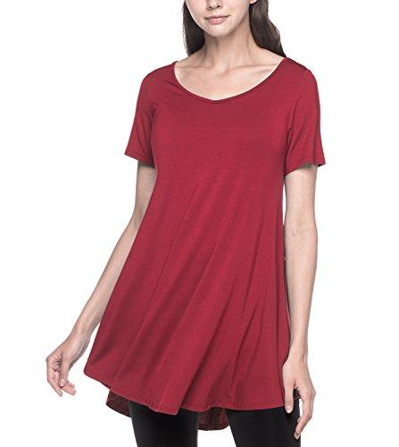 LAPASA Vestidos Mujer Camiseta Larga Blusa Casual Talla Grande Manga Corta. (Camiseta con Volantes) L20