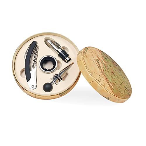 Caja con Set de Vino Decorativo Metal con 4 Accesorios. Sacacorchos. Tapón. Abrebotellas. Regalos Originales. Menaje de Cocina. Decoración Hogar. 15 x 15 x 4 cm